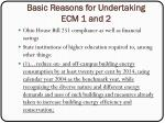basic reasons for undertaking ecm 1 and 2