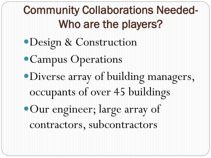 Community Collaborations Needed- Who are the players?