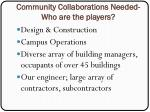 community collaborations needed who are the players
