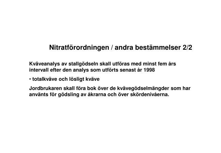 Nitratförordningen / andra bestämmelser 2/2