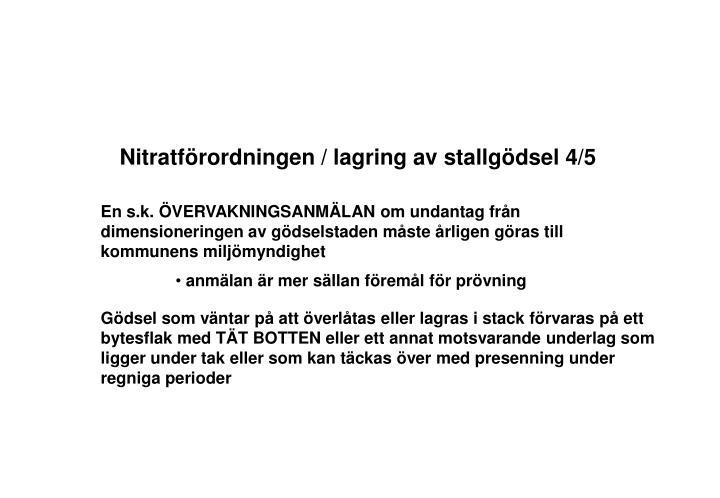 Nitratförordningen / lagring av stallgödsel 4/5
