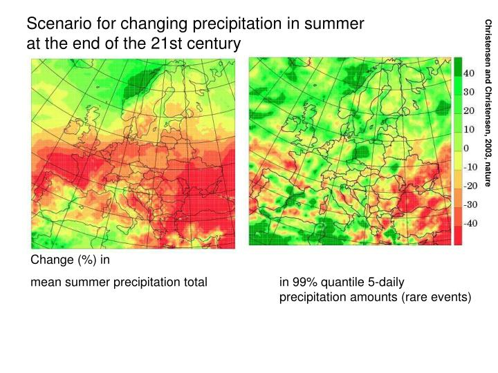 Scenario for changing precipitation in summer