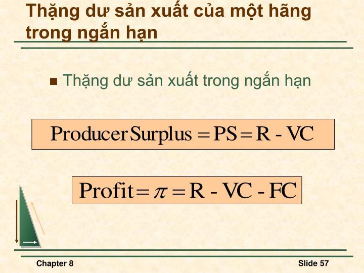 Thặng dư sản xuất của một hãng trong ngắn hạn