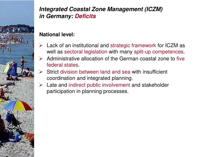 Integrated Coastal Zone Management (ICZM) in Germany: