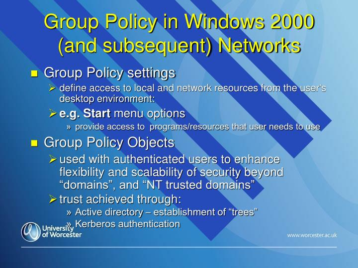 Group Policy in Windows 2000