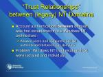 trust relationships between legacy nt domains