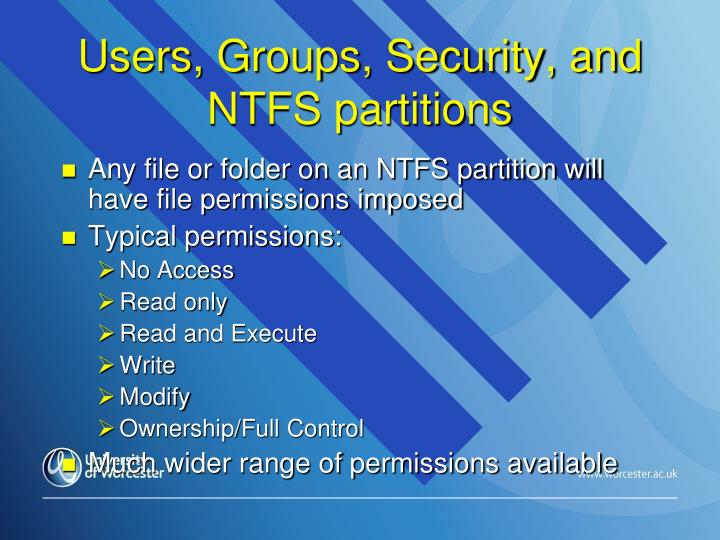 Users, Groups, Security, and NTFS partitions