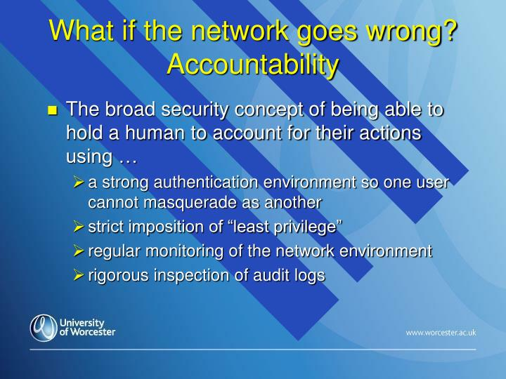 What if the network goes wrong? Accountability