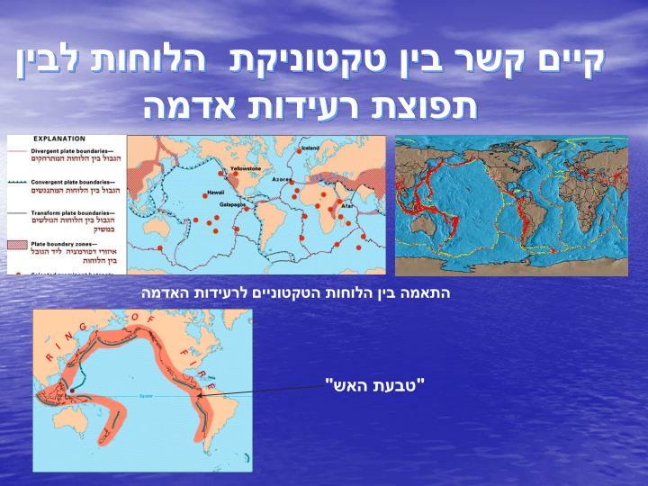קיים קשר בין טקטוניקת  הלוחות לבין  תפוצת רעידות אדמה