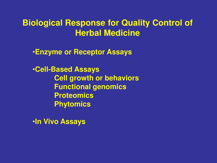 Biological Response for Quality Control of