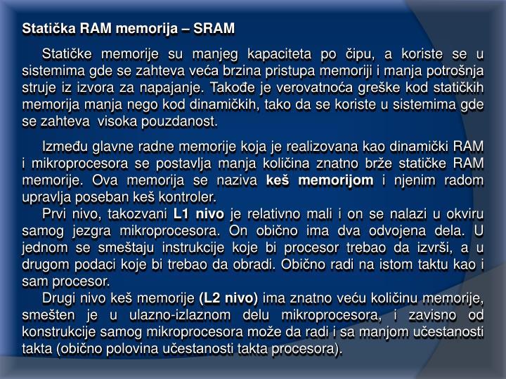 Statička RAM memorija – SRAM