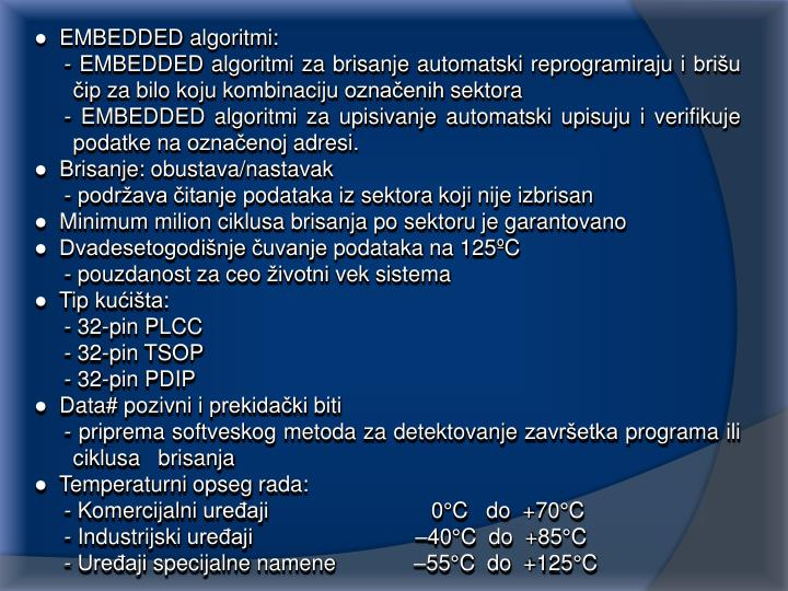 ●  EMBEDDED algoritmi:
