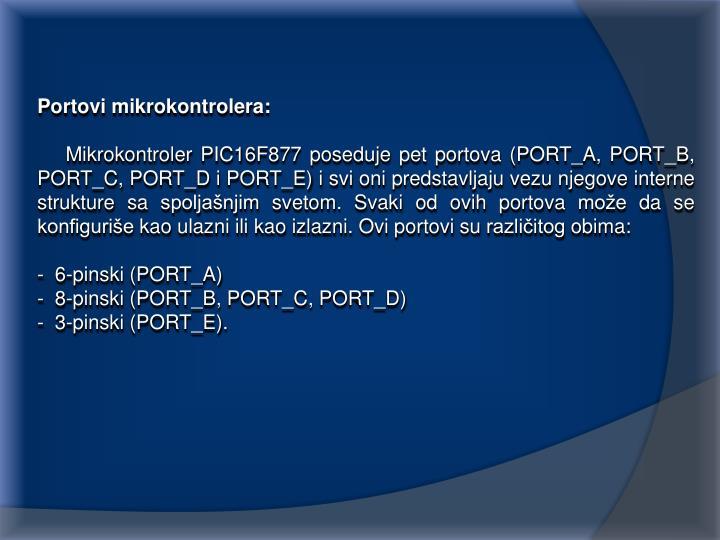Portovi mikrokontrolera: