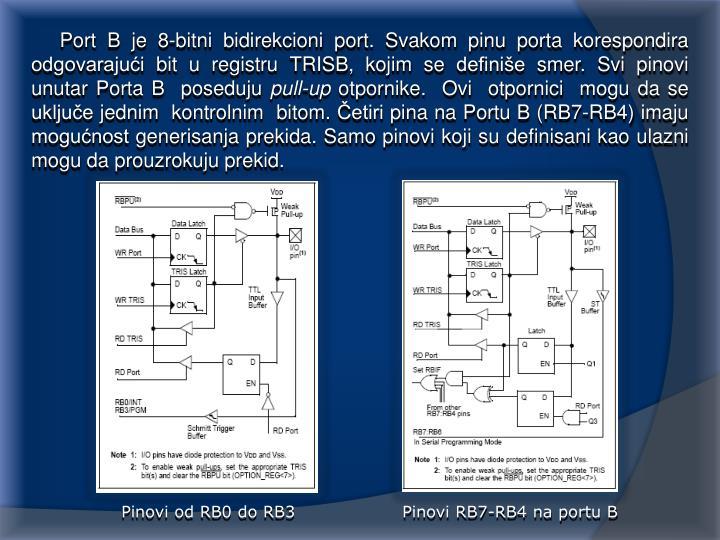 Port B je 8-bitni bidirekcioni port. Svakom pinu porta korespondira odgovarajući bit u registru TRISB, kojim se definiše smer. Svi pinovi  unutar Porta B  poseduju