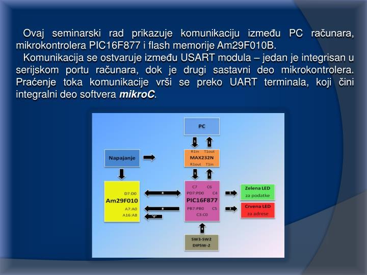 Ovaj seminarski rad prikazuje komunikaciju između PC računara, mikrokontrolera PIC16F877 i flash memorije Am29F010B.