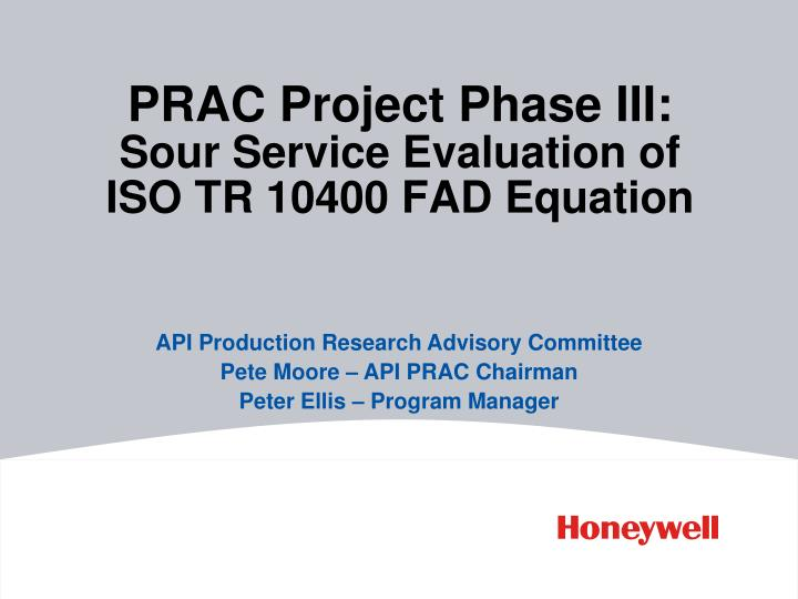 Prac project phase iii sour service evaluation of iso tr 10400 fad equation