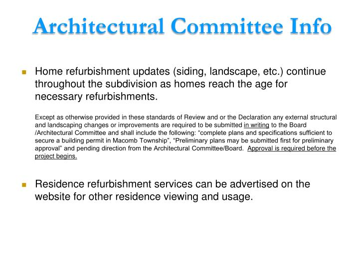 Architectural Committee Info