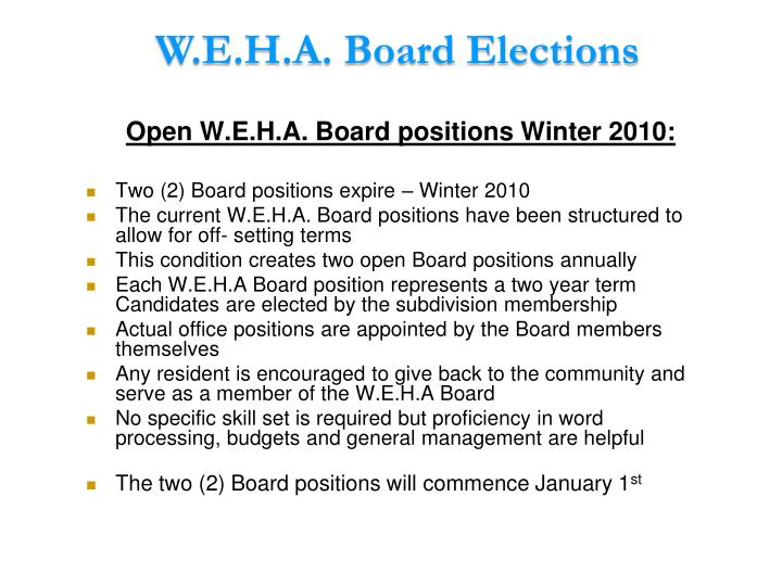 W.E.H.A. Board Elections