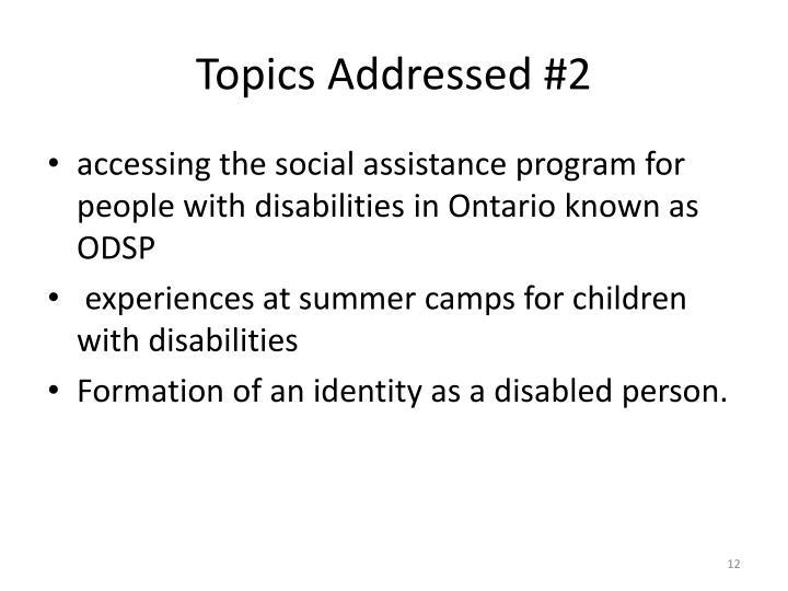 Topics Addressed #2