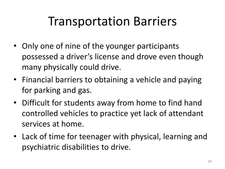 Transportation Barriers