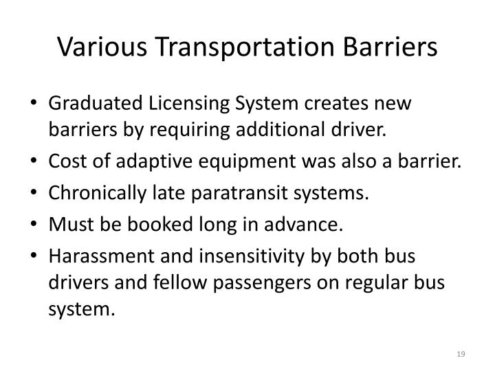 Various Transportation Barriers