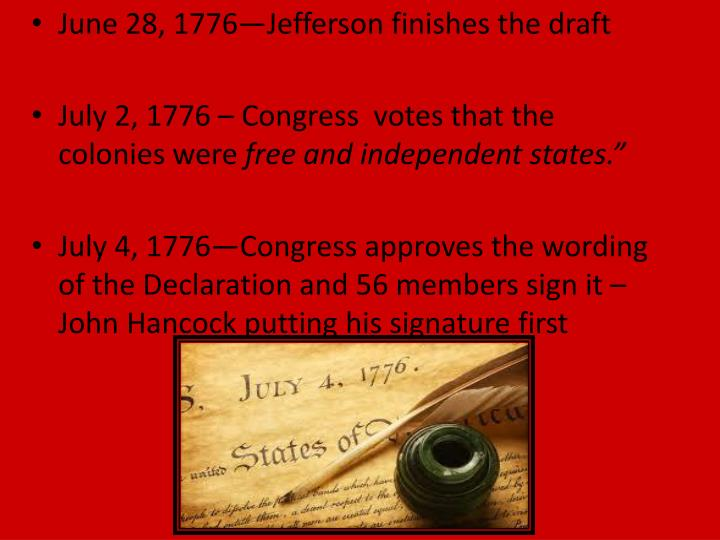June 28, 1776—Jefferson finishes the draft