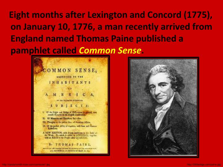 Eight months after Lexington and Concord (1775), on