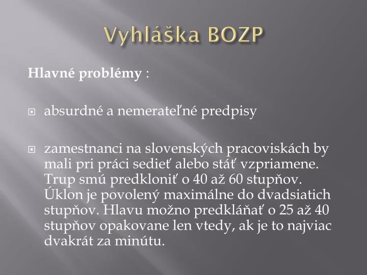 Vyhláška BOZP