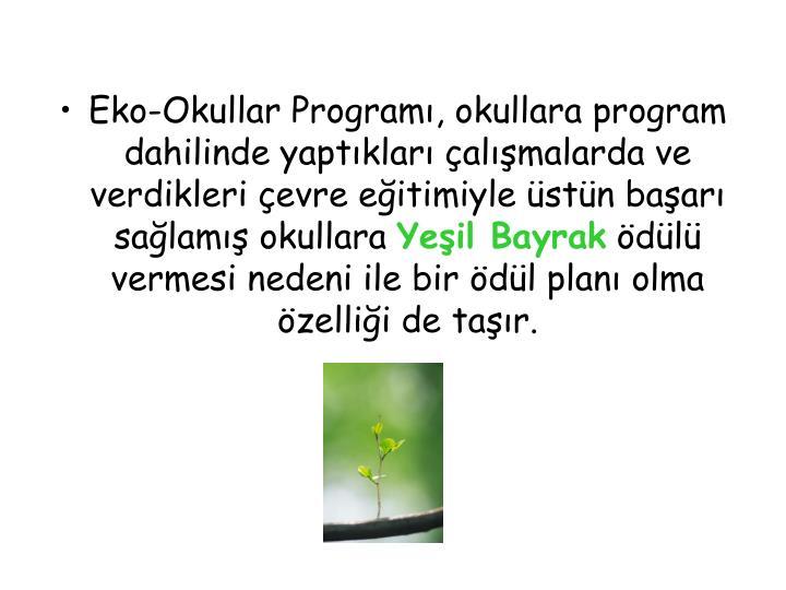 Eko-Okullar Programı, okullara program dahilinde yaptıkları çalışmalarda ve verdikleri çevre eğitimiyle üstün başarı sağlamış okullara