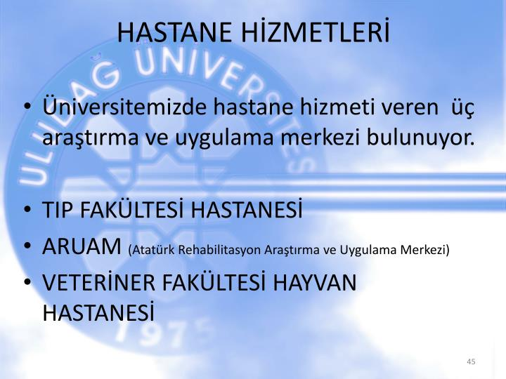HASTANE HİZMETLERİ