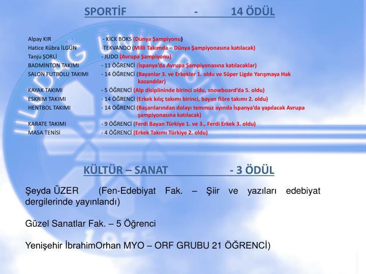 SPORTİF-14 ÖDÜL