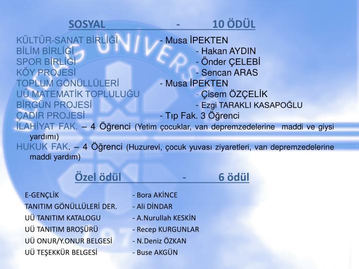 SOSYAL -10 ÖDÜL