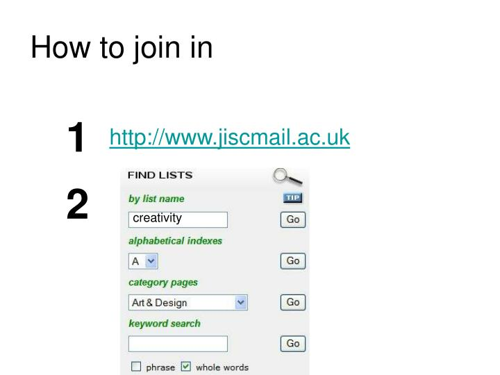 How to join in