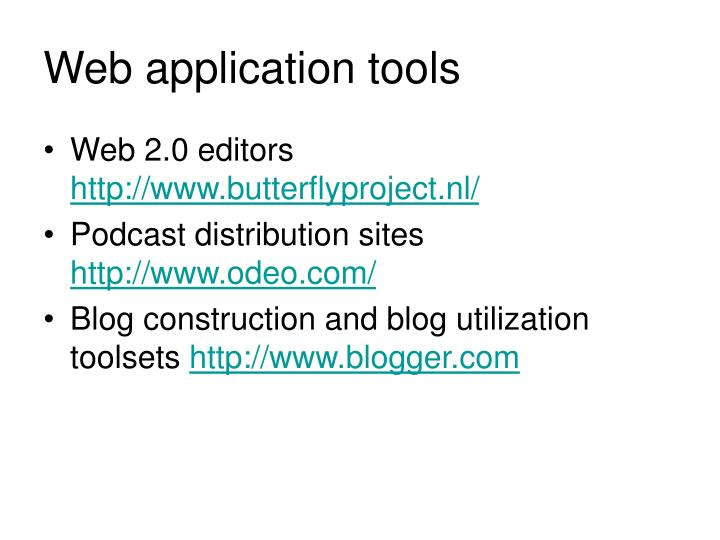 Web application tools