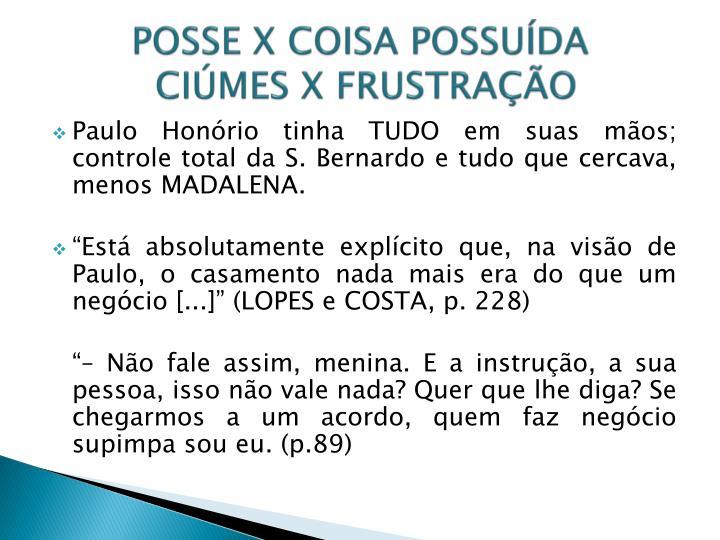POSSE X COISA POSSUÍDA