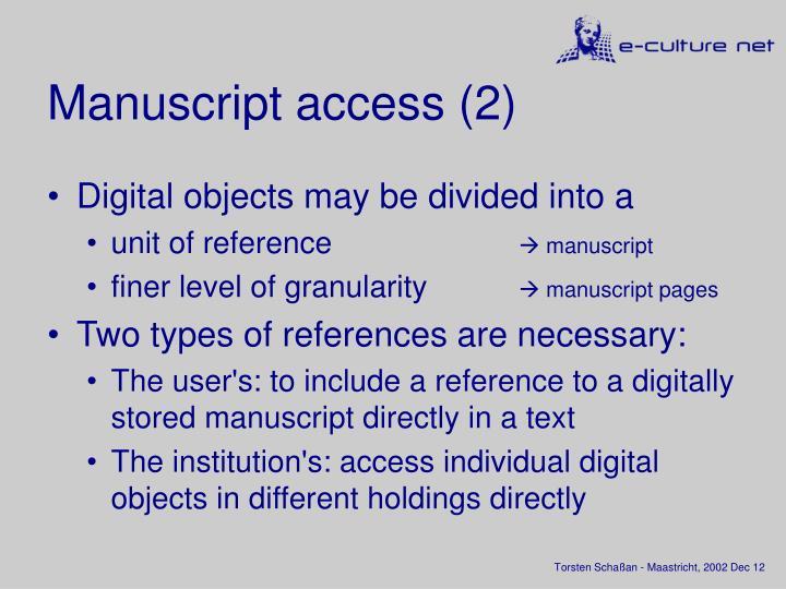 Manuscript access (2)