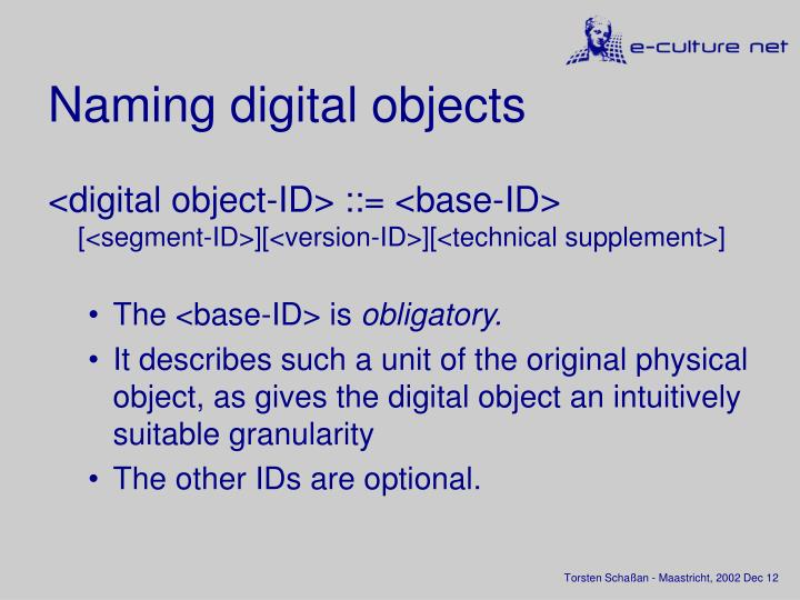 Naming digital objects