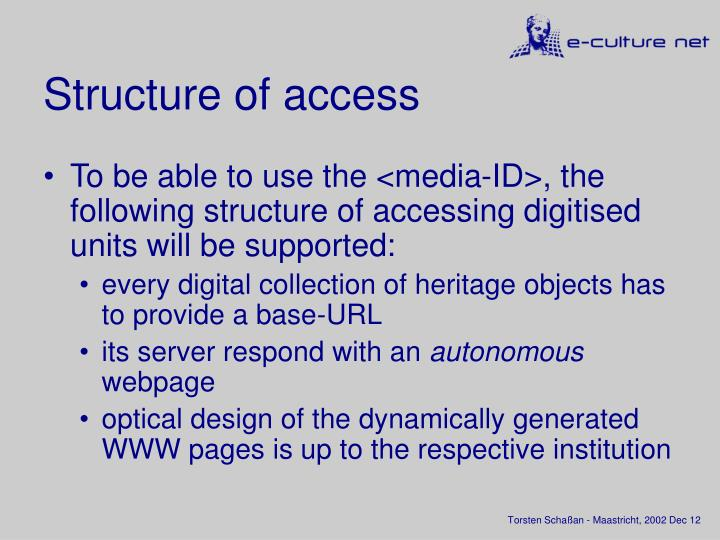 Structure of access