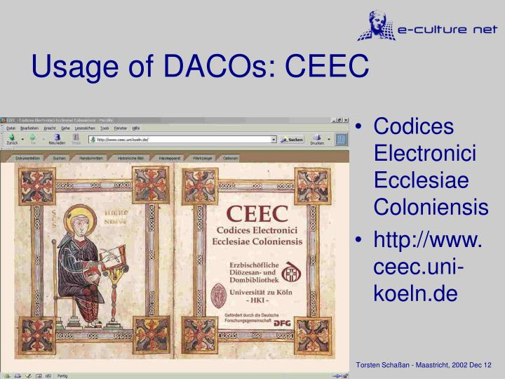 Usage of DACOs: CEEC