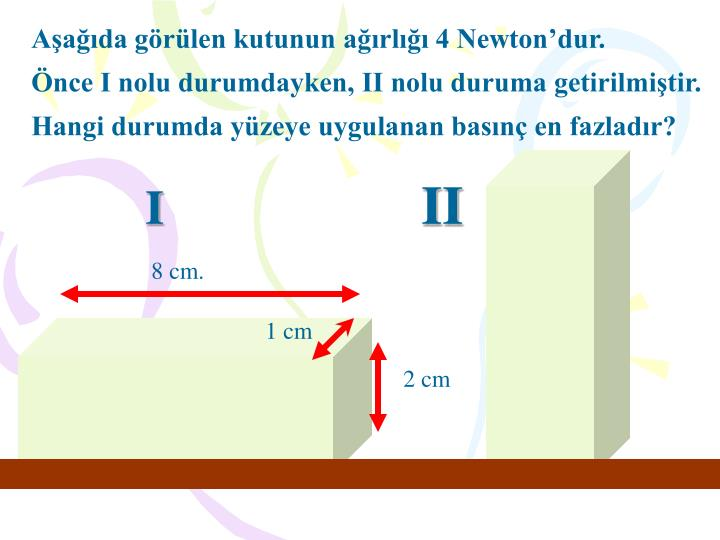 Aşağıda görülen kutunun ağırlığı 4 Newton'dur.