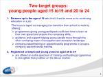 two target groups y oung people aged 15 to19 and 20 to 24