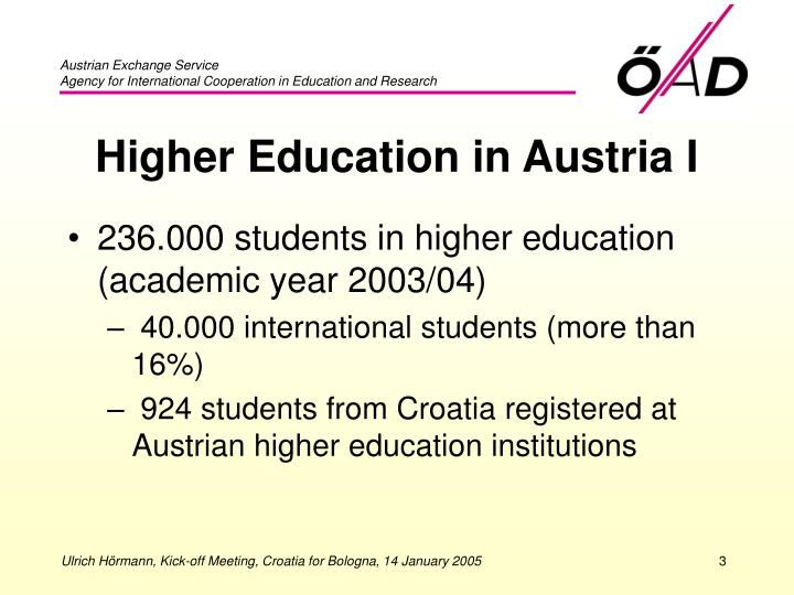 Higher education in austria i