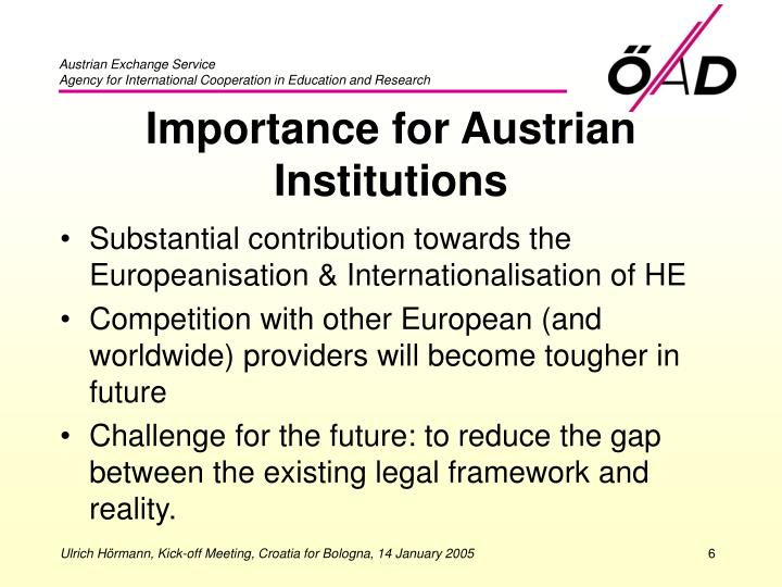 Importance for Austrian Institutions