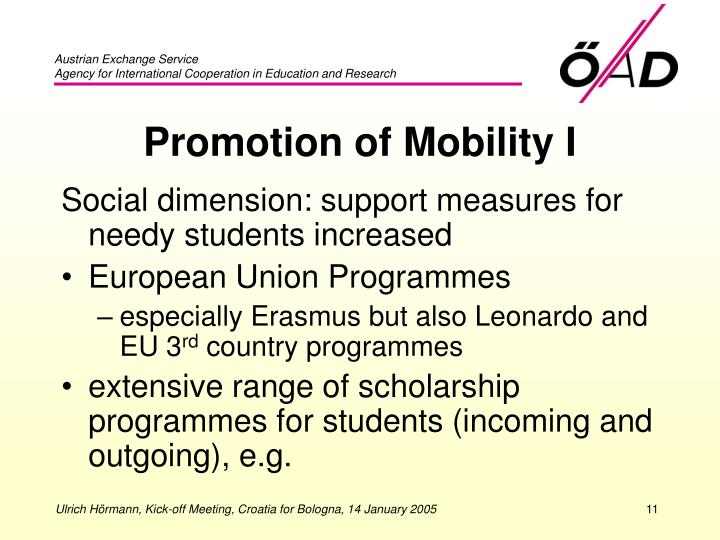 Promotion of Mobility I