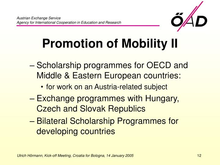Promotion of Mobility II