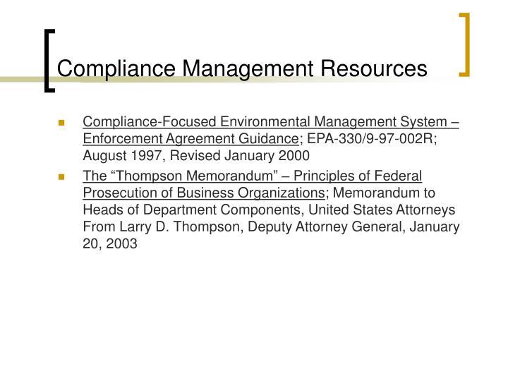 Compliance Management Resources