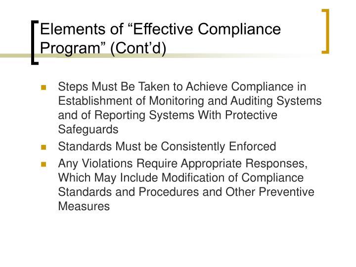 """Elements of """"Effective Compliance Program"""" (Cont'd)"""