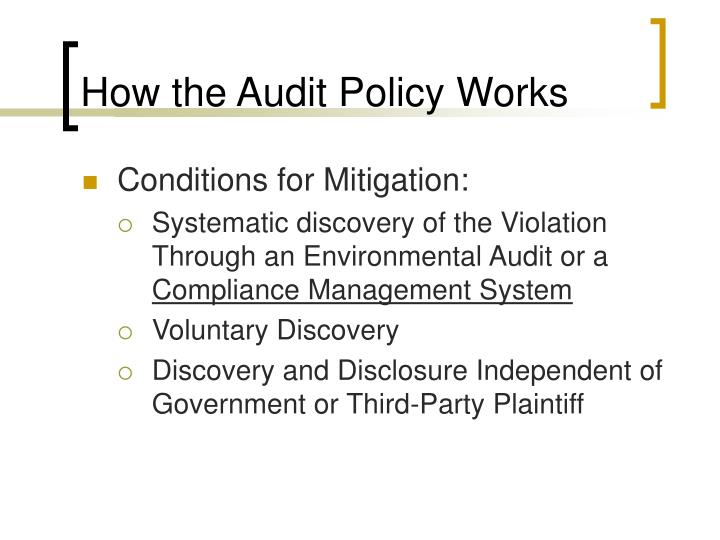 How the Audit Policy Works