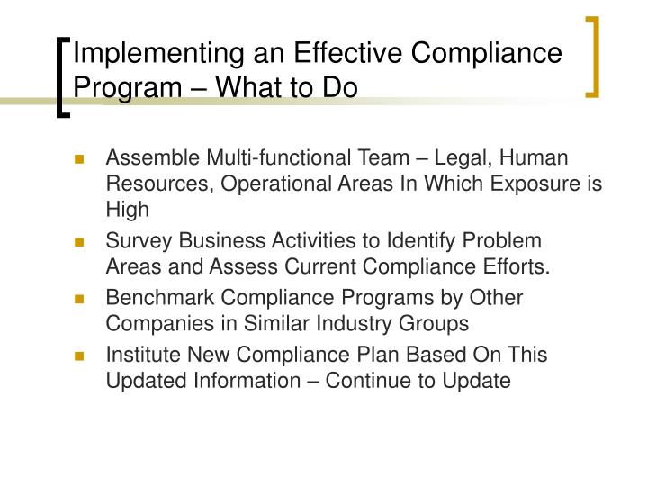 Implementing an Effective Compliance Program – What to Do