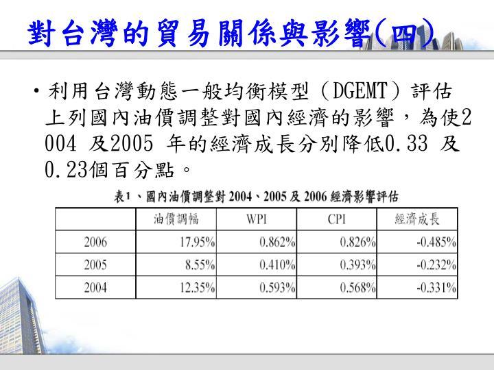 對台灣的貿易關係與影響